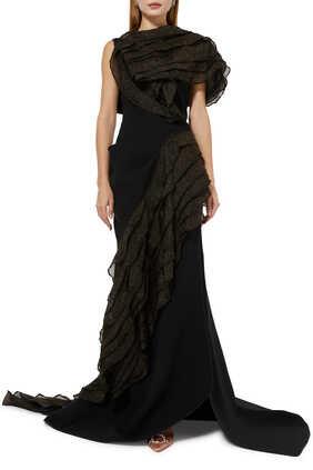 فستان سهرة مزين بكشكش