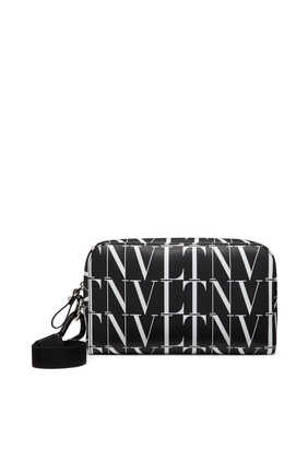 حقيبة مستحضرات العناية الشخصية فالنتينو غارافاني جلد بشعار VLTN بنقشة تايمز