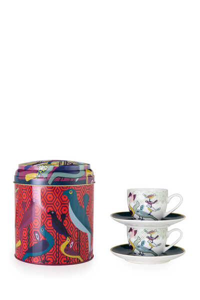 IDO S/2 Cup & Saucer Tin Box Birds of Paradise Multi:Multi Colour:One Size