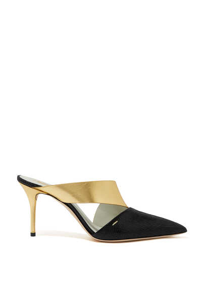 حذاء سارة مفتوح من الخلف جلد بتصميم غير متماثل