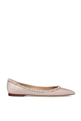 حذاء باليرينا جلد لامع بحلي هرمية