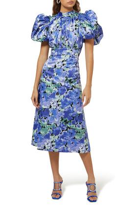 فستان دون متوسط الطول بنقشة زهور